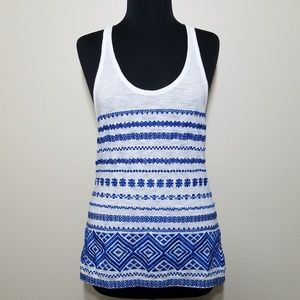 Sam Edelman Blue White Embroidered Tank Top Medium